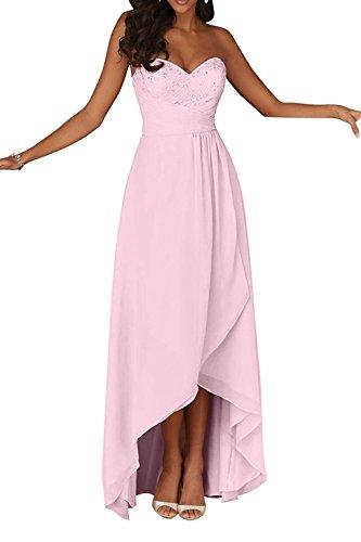 Charmant Damen Champagner Navy Blau Spitze Herzausschnitt Abendkleider Ballkleider Brautjungfernkleider Hi-lo A-linie Rosa