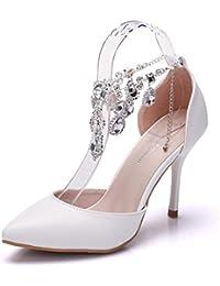 Blanco Tacón Para De Zapatos Amazon Pvc es Mujer SExqwgR1