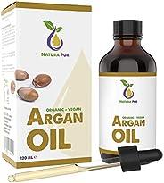 Argan Oil Puur 120ml - 100% biologisch, koudgeperst, Argan Olie veganistisch uit Marokko - Antiaging en antiri
