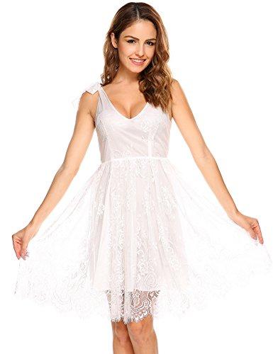 Meaneor Damen Sexy Tiefer V Ausschnitt Floral Spitzen Kleid Ärmelloses Sommer Trägerkleid Dekolleté Brautjunfernkleider