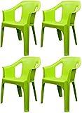 Resol 'Cool' Garden Outdoor / Indoor Designer Plastic Chairs - Green - Garden Furniture (Pack of 4...