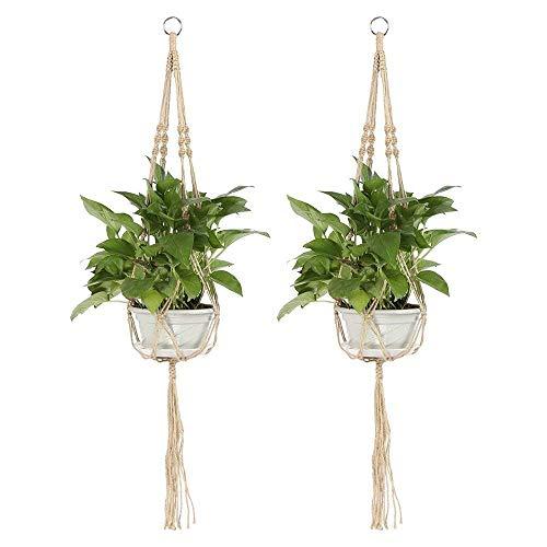 JYCRA Makramee Pflanzenhänger, 2Kleiderbügel Blumen Übertopf Korb Jute Seil Wand hängende Dekoration für Innen Outdoor Balkon Home–4Beine, 101,6cm