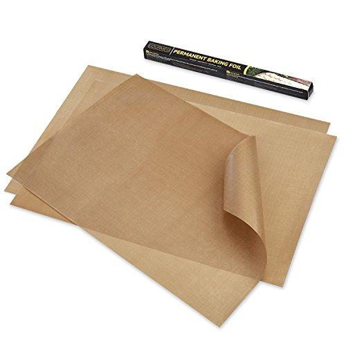 Folien-kochen-pfannen (GOURMEO® Dauerbackfolie (3er Set, 32 x 46 cm), einfach zuzuschneiden, spülmaschinenfest, umweltschonend, antihaftbeschichtet | 2 Jahre Zufriedenheitsgarantie | Dauerbackfolie, Backpapier wiederverwendbar)