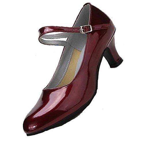 Mulheres Pu Adulto Calcanhar Dança Latina Médio Em Torno De Sola De Borracha De Salão Sapatos De Dança Redwine