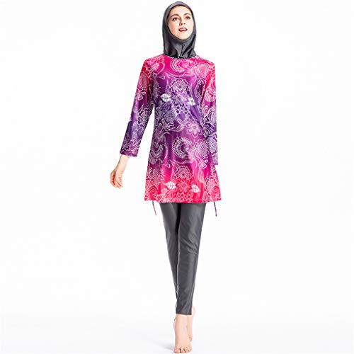 TEBAISE Muslimischen Badeanzug Burkini 2019 Damen Muslim Blume Gedruckt Badeanzüge Modest Islamischen Bescheidene Badebekleidung Swimwear Beachwear Frauen Full Cover Bademode mit Hijab für Ramadan