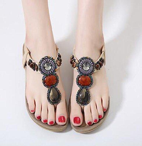 Aisun Damen Elastische Strap Bohemian Style Flache Sandalen Beige