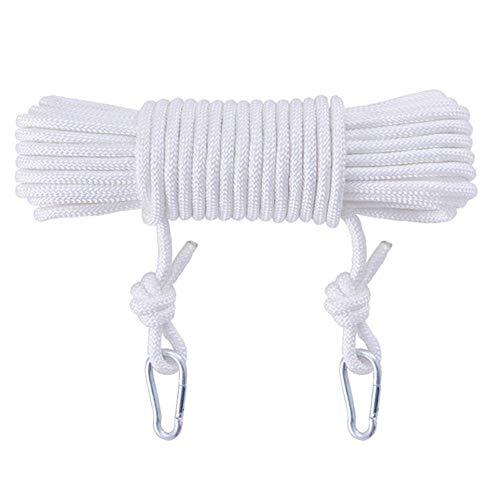 RKY Outdoor Draht Wäscheleine Trocknen Seil Verdickt Indoor Free Punching Haushalt Sicherheit Seil Dickes Seil, Weiß 8mm, 12 Größen Faserseil (Size : 8M)