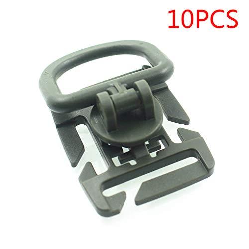 Luckiests 10pcs Tactical Grimlock Rotation D-Ring Clips Buckle molle gewebtes Material Befestigung Rucksack Karabiner