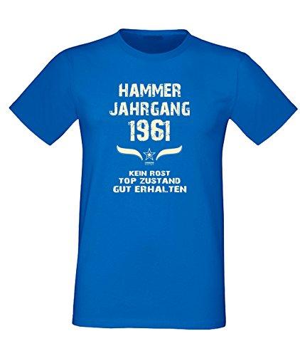 Sprüche Fun T-Shirt Jubiläums-Geschenk zum 56. Geburtstag Hammer Jahrgang 1961 Farbe: schwarz blau rot grün braun auch in Übergrößen 3XL, 4XL, 5XL blau-02