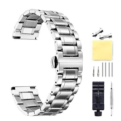 Bracelets de Montres en Acier Inoxydable avec Extrémité Droite et Incurvée Or,Ruban,Noir,Or Rose,Deux Tons-12mm/14mm/16mm/18mm/19mm/20mm/21mm/22mm/24mm