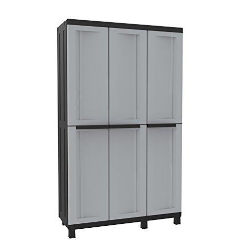 Kunststoff-Schrank Spindschrank mit 3 Türen, grau/schwarz - 102 x 39 x 170 cm