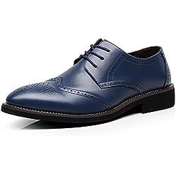 Jamron Britannico Stile Uomini Elegante Punta di Piedi Oxfords Comfort Pelle Sintetica Brogue Vestito Scarpe Blu Marino 856 EU40