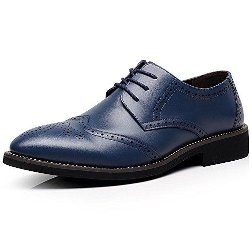 Jamron britannico stile uomini elegante punta di piedi oxfords comfort pelle sintetica brogue vestito scarpe blu marino 856 eu43