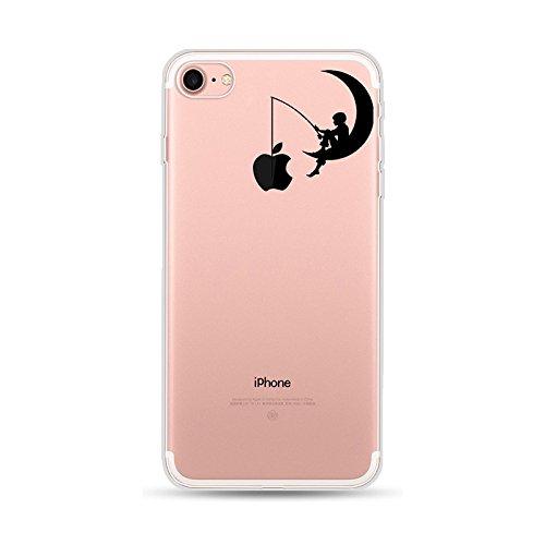 CrazyLemon Kreativ Hülle für iPhone 8 iPhone 7, Transparent Klar Weich TPU Silikon Handyhülle Durchsichtig Niedlich Mond Muster Leicht Vollschutz Schutzhülle für iPhone 8 iPhone 7 4.7