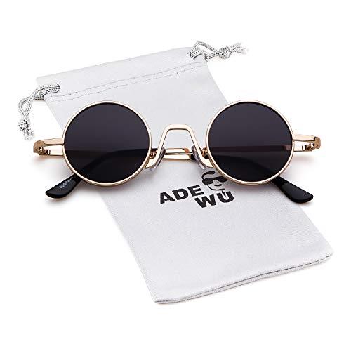 ADEWU Gafas de sol ovaladas Vintage Street Style Eyewear con borde de metal fino Hombres Mujeres