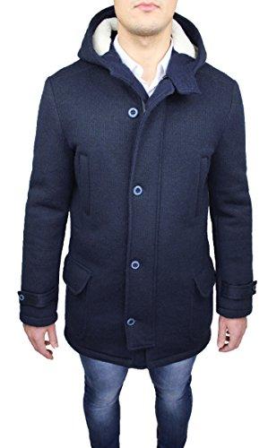 Cappotto Montgomery uomo Alessandro Gilles made in Italy blu scuro con pelliccia interna (L)
