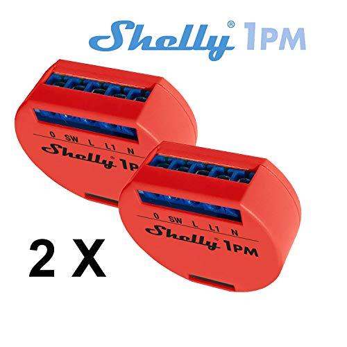 Shelly 1PM Wireless Relais Intelligente domotische Schalter Amazon Alexa und Google Home 2 Stück Energiemonitor