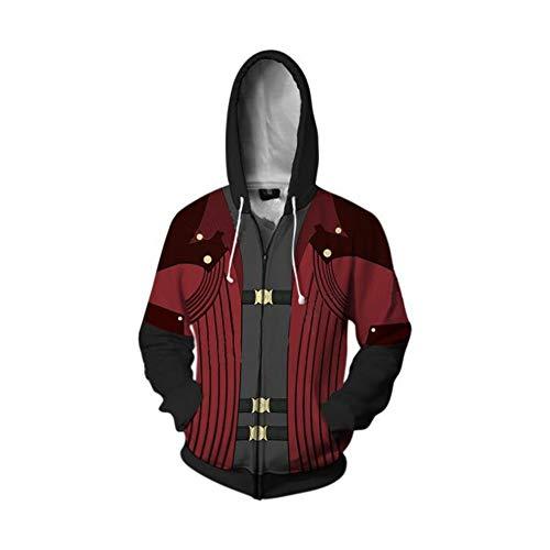 Zhangjianwangluokeji Dante Kostüm 3D Print Hoodies Zipper Jacket Adult Cosplay (Stil 1, S) Nero Jacke