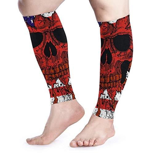 American Flag Skull Unisex Calf Compression Sleeve - Leg Compression Socks for Running, Shin Splint, Calf Pain Relief -
