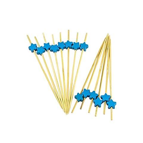 phifo 100zählt Cocktail Sticks Zahnstocher aus Holz für Chrismas, Hochzeiten,,, Baby Dusche & Knabbereien Tapas Sandwich canopes Vorspeisen Blau /