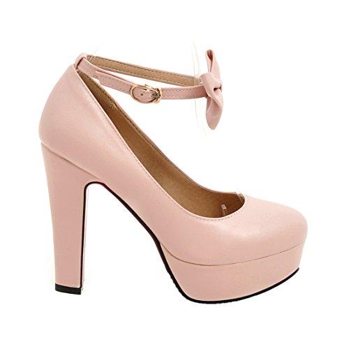 ... Schleife Rosa Schuhe Heel Pumps Plateau Abend Elegant AIYOUMEI Damen  mit Blockabsatz Riemchen High I7CUwCq ... cf75bb8812