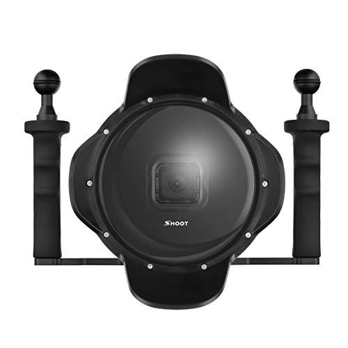 30mWasserdichter 6 Zoll Diving Dome Port Fisheye Gegenlichtblende für GoPro Hero 5 6 7, schwarz Fisheye-port
