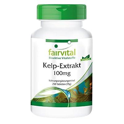 fairvital - Sea Kelp Extract 100mg: Natural Iodine Source with 150mcg Iodine - 250 Vegetarian Tablets from fairvital