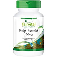 Kelp-Extrakt 100mg mit 150µg Jod - GROSSPACKUNG für 8 Monate - VEGAN - 250 Tabletten - natürliches Jod