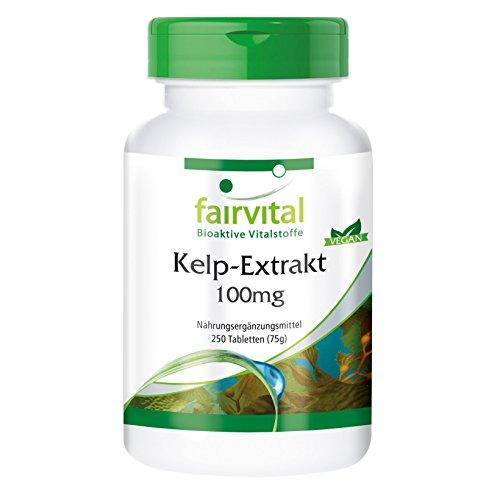 Kelp Tabletten - Extrakt 100mg mit 150mcg Jod - VEGAN - 250 Tabletten - natürliches Jod -