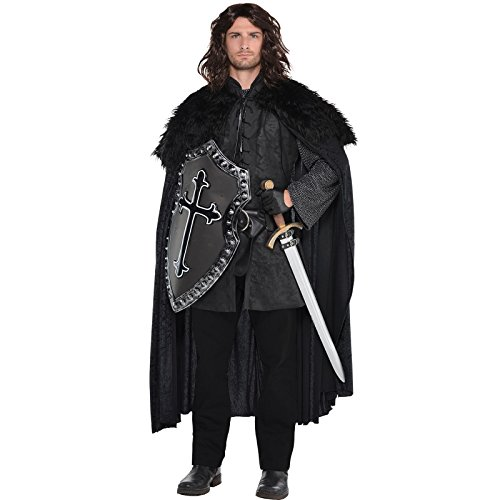 Black Fur Medieval Cape Mens Fancy Dress Game Of Thrones Style Adults (Knight Kostüm Medieval Black)