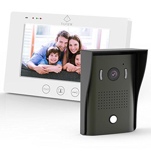 Immagine di Videocitofono, TILVIEW Kit per Videocitofono a Colori da 7 Pollici con 2 Cavi, 1 Monitor Video per Interno e 1 Telecamera da Esterno, Audio Bidirezionale, Visione Notturna