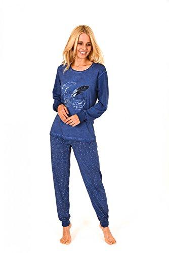 Lässiger Damen Pyjama langarm in gewaschener Optik - 171 201 90 820 Marine