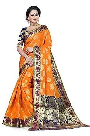 J B Fashion cotton with blouse piece Saree (lotus border_ Yellow_ Free)