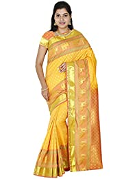 4913b381aee72 Ethnic Indian Women s Kanchipuram Pattu Silk Saree With Zari Border and  Blouse