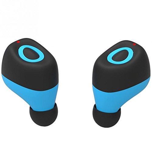 Il mini trasduttore auricolare dell'in-orecchio del bluetooth del bluetooth, il nuovo stile CHSMONB Bluetooth spinge il trasduttore auricolare, il rumore astuto annullando la cuffia magnetica stereo di CSR4.1 del USB, gli auricolari senza fili di Bluetooth con il mic in ginnastica per correre a guidare e cucinare, 5 ore di gioco (Q17, Azzurro)