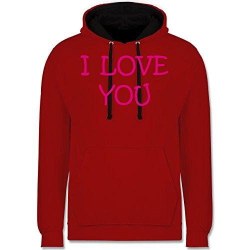 Valentinstag - I Love You - Kontrast Hoodie Rot/Schwarz