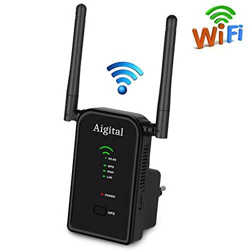 Aigital WLAN Repeater WLAN Verstärker Accesspoint Router (WLAN Bandbreite mit bis 300 Mbits über 2,4 GHz + 2 Fast Ethernet WAN/LAN, WPS, universell kompatibel mit jedem Router/Modem) Wi Ex-signal-booster