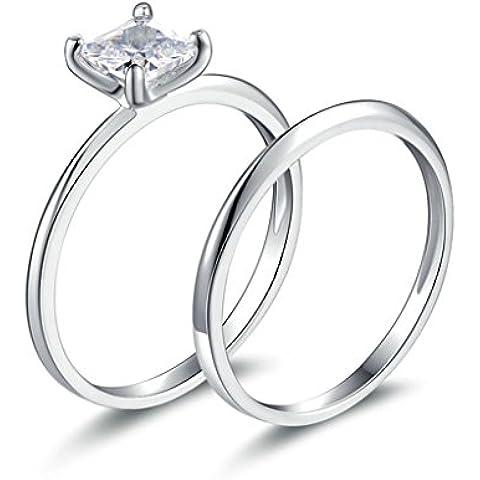 (Personalizzati Anelli)Adisaer Anelli Donna Argento 925 Anello Fidanzamento Incisione Gratuita Piazza Anello Diamante Set di
