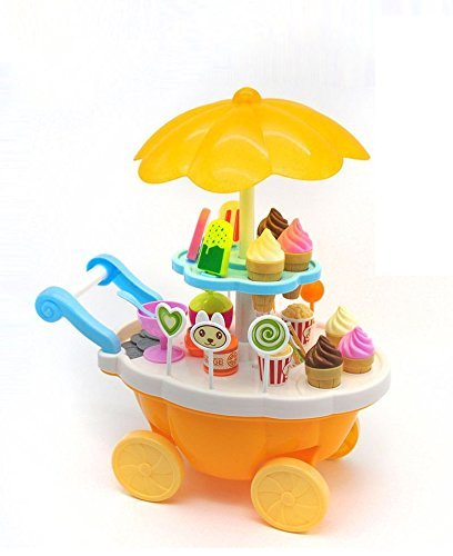 higadgetâ?¢ Ice Cream Kitchen Cart Set Toy with Lights and Music - Small