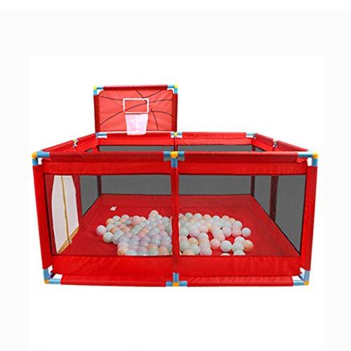 WYQ Laufgitter Ställe Safety Play Yard Set Rot (Babylaufstall, Spielmatte, 200 Kunststoffkugel, Mini-Basketballkorb, 4 Gummifüße) Laufstall für Babys und Kinder -128 × 128x66 cm, 190 × 128x66 cm