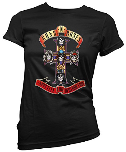 T-shirt Donna Guns n' Roses - Appetite for Destruction Maglietta 100% cotone LaMAGLIERIA,M, nero