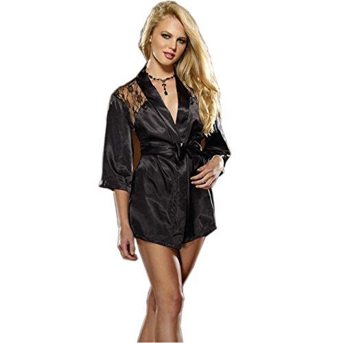 KamX New Sexy Women's Lingerie Lace Nightwear Underwear Black Robe (Free Size)
