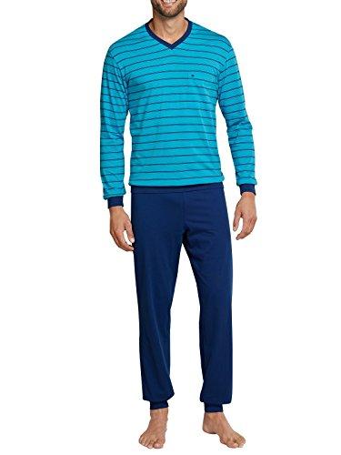 Seidensticker Herren langer Schlafanzug Pyjama Lang - 156992, Größe Herren:64;Farbe:blau