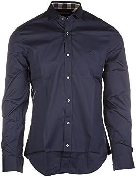 Burberry camicia uomo maniche lunghe nuova cambridge blu