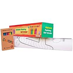 Rollo de papel adhesivo con dibujos para pintar. Papel continuo para niños con letras para colorear, ideal para manualidades infantiles. Perfecto para regalo (+3 años). Ceras de colores incluidas