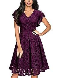 b93384c411 Miusol Vintage Encaje Floral Coctel Vestido Corta para Mujer