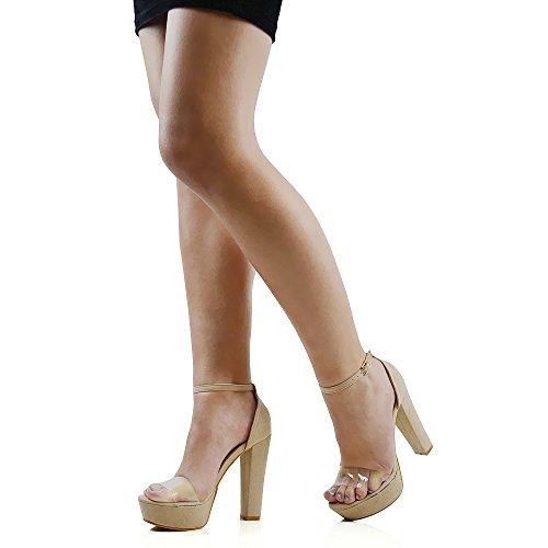 ESSEX GLAM Scarpa Donna Sintetica Sandalo Tacco a Blocco Alto Suola Spessa Cinturino alla Caviglia Carne Finto Scamosciato
