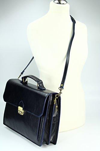 """BELLI """"Design Bag Tennessee"""" mittelgroße Echt Nappa Leder Businesstasche unisex - Farbauswahl - 37x27x12 cm (B x H x T) Dunkelblau"""