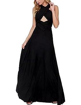 HUHHRRY Vestido Largo Mujer Para Noche y Fiesta Casual Algodón Ropa Top Falda Espalada Descubirta Dama de Honor...