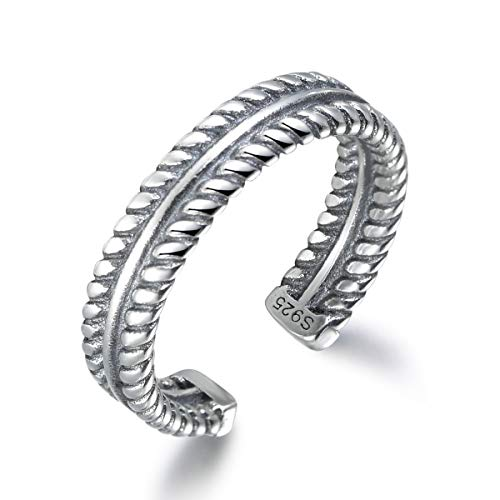 SNORSO - Sterling silver ring for women, 3 layers, adjustable, braided rope design